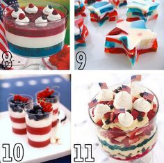 Patriotic Foods - lotsa eye candy here.  check the rice krispie treat stars.