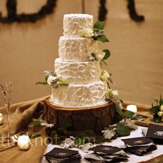 Cake on wooden stand