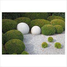 garden ideas, odd ball, stone, garden sculptures, topiari, topiary ball, globe, garden plants