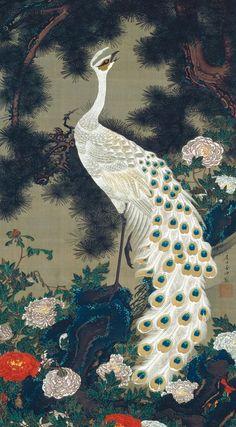 Itō Jakuchū the national, pines, itō jakuchū, japan, pine tree, art, trees, ito jakuchu, peacock