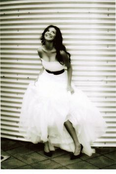 Beautiful white dress with black sash
