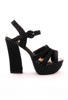 Retro Dots Heel Sansals in Black