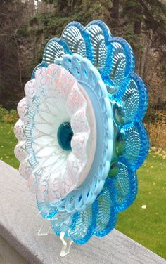 Repurposed Vintage Glass Plate Suncatcher by BorealisBlooms