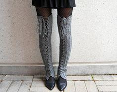 Grey Crochet Thigh High Lace Up Leg by CrochetByStitchWitch, $45.00