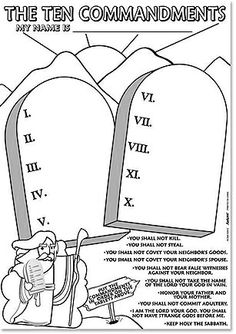 The chart of the ten commandments at the end of this lesson or from
