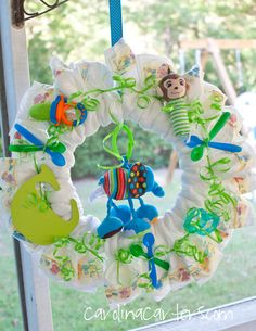 I love diaper shower wreaths for baby showers.