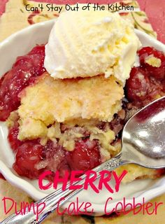 Cherry Dump Cake Cobbler | Can't Stay Out of the Kitchen | fabulous #cobbler recipe. This #dumpcake is so quick and easy to make. #cherries #pineapple #cakemix