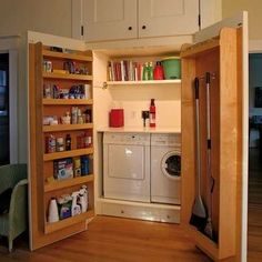 10 Laundry Room Storage Ideas That'll Knock Your Socks Off Tuck your washer and dryer into a kitchen pantry, and hide it behind cabinet doors. Shelves and hooks built into the door provide storage for detergents, cleaning solutions, and even brooms and mops.
