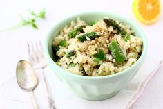 asparagus and spring onion risotto with vegan options