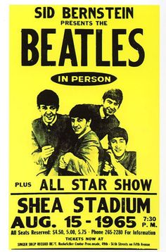Vintage Theatre Poster - Shea Stadium - New York - USA - 15 August 1965  I want this!!!