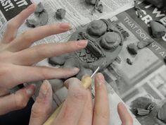 school auction projects, high schooler, clay projects for high school, middle school, clay monster, student design, elementari student, clay art