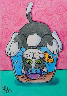 "Aceo Original ""CAT HAS FISHBOWL PROBLEM #2 "" pencil/ink.. | eBay"