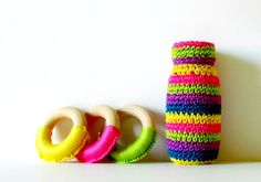 Baby Girl Crochet Gift Set  Eco Friendly Rattle by FairyOfColor, $35.00 #fairyofcolor #etsy #babytoy