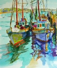 """""""Joan n Tom- 8x10 this fishing boat is a familiar sight at the wharf in PTown. I did a pen and ink sketch and then some watercolor over it. * Ill include a custom mat with this."""" - Original Fine Art for Sale - © Mary Sheehan Winn"""