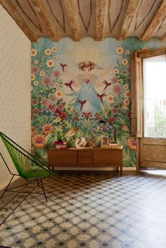 Catalina Estrada wall mural #Bloompapers #BloomArtists #Wallpapers #Home #Deco
