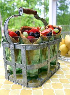 Fruit in a sugar cone.