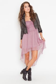 cool styling, always love feminine dresses paired with leather jackets and combat boots
