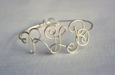 Wire Monogram Bracelet, Cuff, Bangle, Choose Color on Etsy, $22.00
