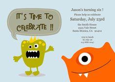 birthday party invitations, monster party, birthday boys, blue, invitation cards, kid birthdays, little monsters, kid birthday parties, boy birthday parties