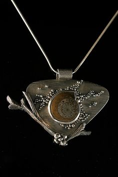 Pendant | Patrik Kusek. 'Ammonite Pendant'. Metal clay
