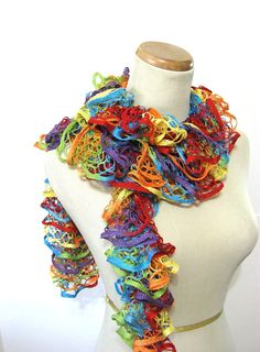 Rainbow Hand Knit Ruffle Scarf  Red Yellow Blue by ArlenesBoutique,