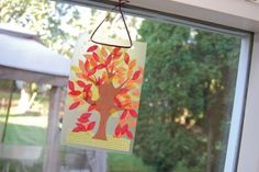 Fall suncatcher - contact paper and tissue paper