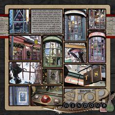 harri potter, idea, harry potter scrapbook, black mat, scrapbook page layouts, universal studios scrapbooking, scrapbook pages, hogsmead window, shop windows
