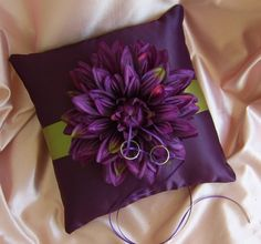 Fall Wedding Olive Green and Eggplant Wedding Ring Bearer Pillow