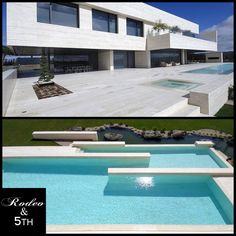 Madrid-based studio A-cero has completed the Vivienda 19 project in 2009. This contemporary concrete residence is located in in a luxurious estate of Pozuelo de Alarcón, a suburb near the city of Madrid, Spain. #rodeoand5th #luxury #homes #spain #design #decor #pool #view