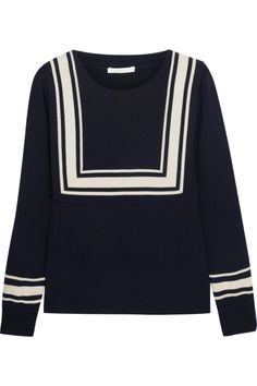 Chloé Bib-detailed fine-knit wool sweate