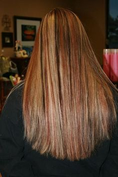 Dark Brown Lowlights with Blonde and Red Highlights  I wanted hair like this so bad in 8th grade but I could never find a picture of it!