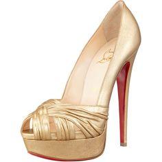 Christian Louboutin Aborina Metallic Twist-Front Platform Pump Gold high heels with red soles #designer #shoes #heels #gold #red #sole #redsole #christian #louboutin #christianlouboutin #bridal #bridalshoes #wedding #weddingshoes #jevel #jevelwedding #jevelweddingplanning Follow Us: www.JevelWeddingPlanning.com www.facebook.com/jevelwedding/ www.twitter.com/jevelwedding/