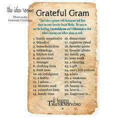 Photo-a-day Grateful Gram Challenge via Amy Huntley (The Idea Room)