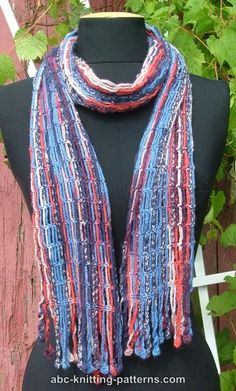 ABC Knitting Patterns - Chain Scarf with Crochet Fringe -
