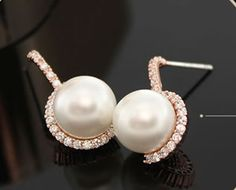 Superior Stud Earrings With Zirconia And Simulated Pearls$30.00 ,Style No.: LJE00038