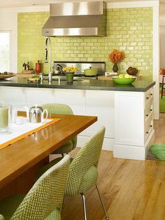 kitchens, back splashes, kitchen colors, green kitchen, kitchen design, lime, subway tiles, greenkitchen, kitchen tiles