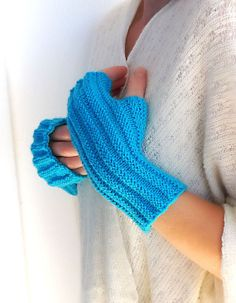 Turquoise ribbed knit fingerless gloves, Knit Mittens, Arm Wrist Warmers