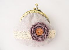 Lace and Crochet Flower Coin Purse Pastel purple by lazydoll, $19.90
