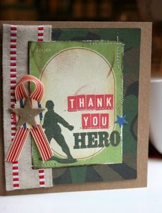 OWH - Thank you card  use silhouette cut shape for soldier