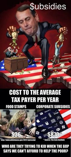 Billions and billions of our tax dollar given to profitable corporations. President Obama has asked the practice to stop. Give him a congress so he can.