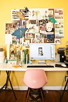 vision board desk space, office spaces, mood boards, pin boards, bulletin boards, inspiration boards, yellow walls, home offices, workspac