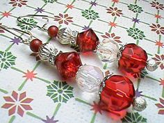 Red White and Silver Beaded Earrings by We3Queens on Etsy, $8.00