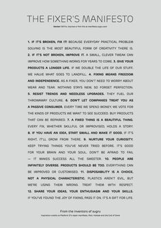 The Fixer's Manifesto from the brilliant minds at Sugru.