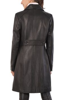 Stay warm in the cold winter weather with this black BGSD Women's New Zealand Lambskin Leather Walking Coat. This stylish #coat is accented with a cute buttoned back belt to give it a tapered slimming appearance. http://www.luxurylane.com/426-199836-blk.html