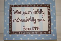 Fearfully  Wonderfully Made, Baby Blue Polka Dots, Child's Nursery,11x14 Bible Verse Wall Art, Psalm 139:14, Baby Dedication, Christening. $32.99, via Etsy.