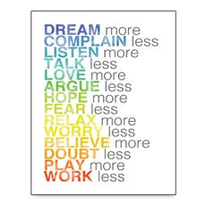 More and Less List Wall Art- White