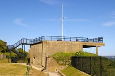Admiralty Lookout and Port War Signal Station, Dover Castle, Kent, England, UK. 1874 Hospital Battery converted Fire Command Post 1905. Admiralty installations added 1914. Roof 1941. On edge of White Cliffs of Dover. As Rear-Admiral, Bertram Ramsay here prior to 1940 Dunkirk Operation Dynamo. Restored 2008 by Radley House Partnership, Chartered Architects. World War I, World War II, Royal Navy History photo. Listed Building and English Heritage site. See: http://www.panoramio.com/photo/54314751