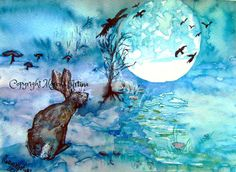 Moon Gazing Hare and crows