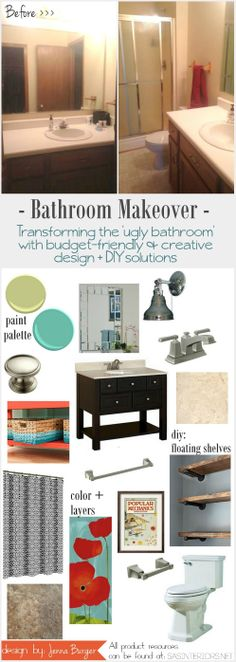 Bathroom Makeover: Creative Vision Board + Plan of Action - includes creative DIY solutions + a mix of color and pattern! See how this Ugly Bathroom can come to life!