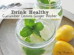 Cucumber Lemon Ginger Water-the perfect healthy summer drink-helps with digestion.